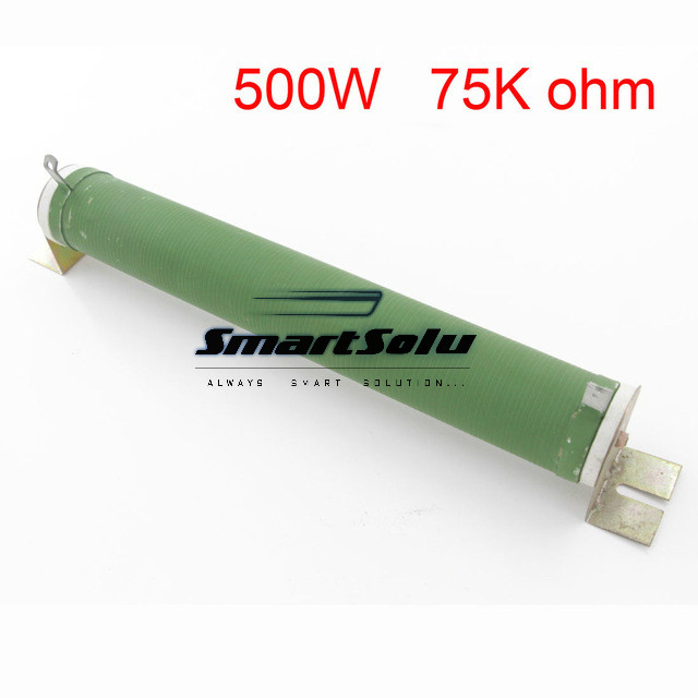 500W Ceramic Tube Resistors 75K ohm Wire Wound Fixed Tube Resistance good quality customized green fixed type pipe resistance 400w 7 5 ohm ceramic tube resistor