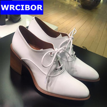 British style vintage Women Oxford shoes Genuine leather lace up pointed toe high heels pumps fashion women Four Seasons shoes
