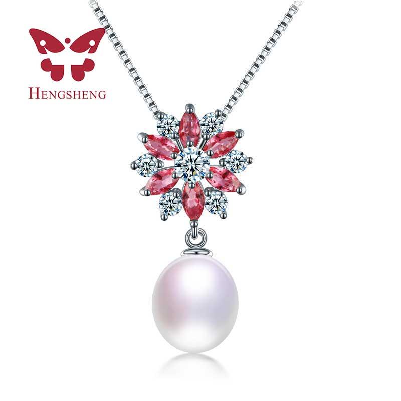 De Calidad superior de AAAA 9-10mm blanco rosa violeta negro colgantes de perlas, 2017 Nueva Llegada de Agua Dulce Natural de La Perla Colgante y Collar