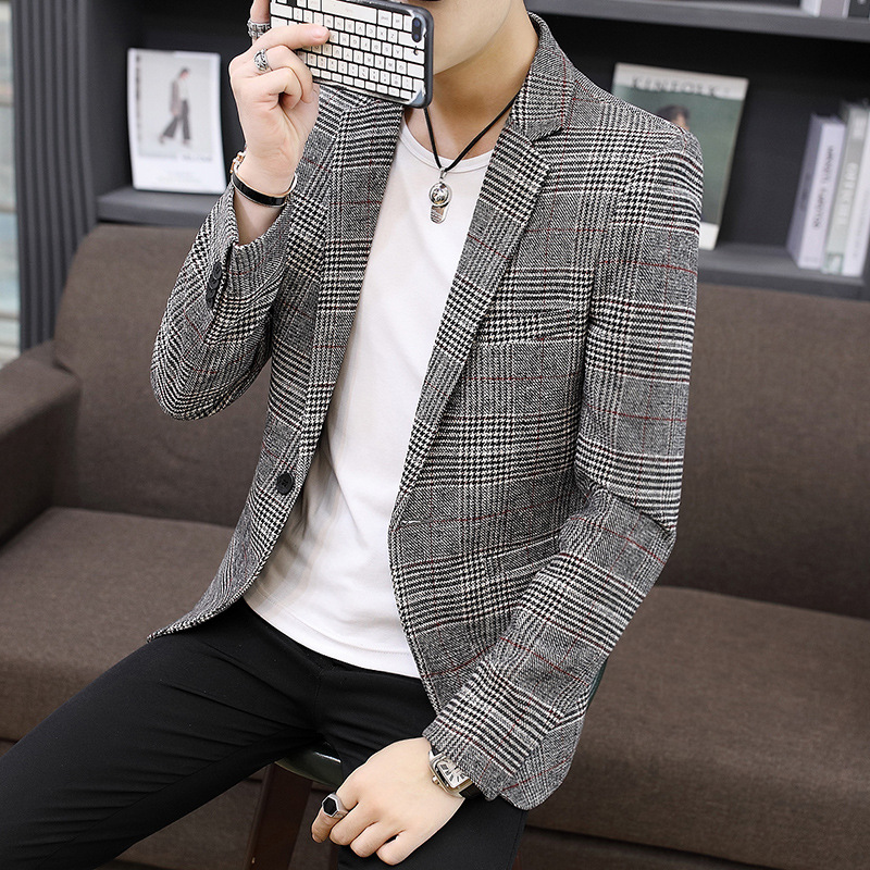 Spring Mens Blazers Jacket Business Casual Korean Style Checks Plaids Short Jacket One Button Coat Free Shipping Male Coat