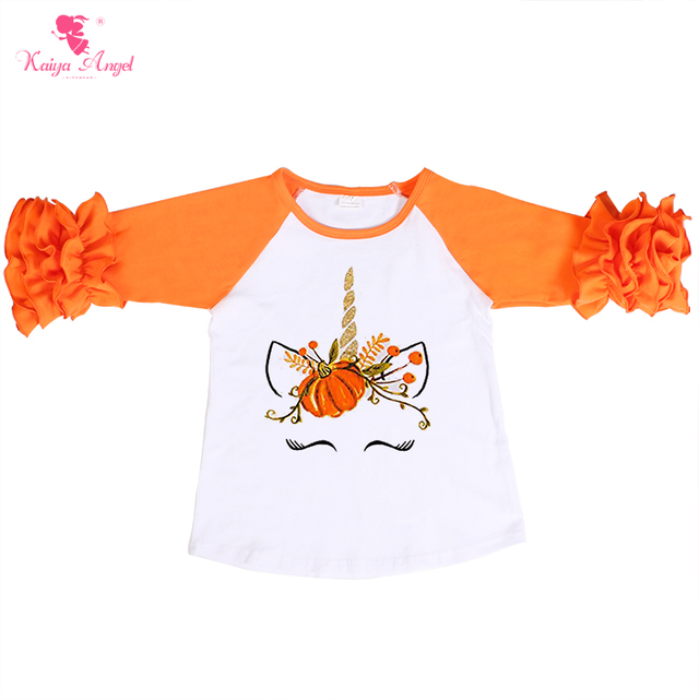 9d11ade5 Kaiya Angel Toddler Girl Autumn Tops Orange Ruched Long Sleeve Pumpkin  Printing Children Halloween Shirts 2018 Factory Wholesale