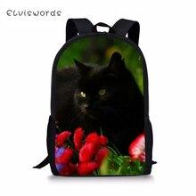ELVISWORDS Kids Fashion Backpack Cute Animal Childrens School Bags Black Cats Pattern Toddler Schoolbags Women Travel