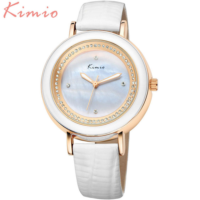 2016 fashion Kimio Brand Watch Women Ladies  Luxury rhinestone Watches genuine leather band japanese movt Quartz Dress Watches