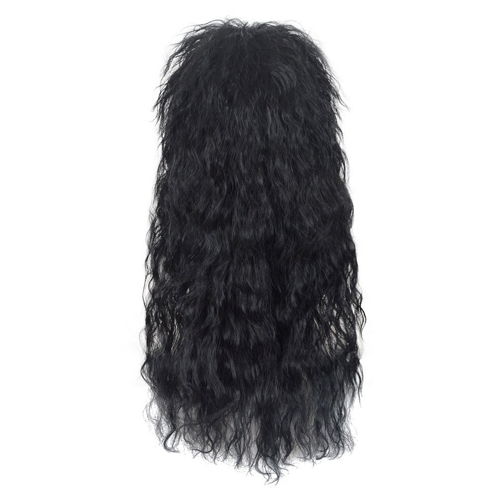 1980/'s Black Hard Rocker Wig Adult Mens Smiffys Fancy Dress Costume