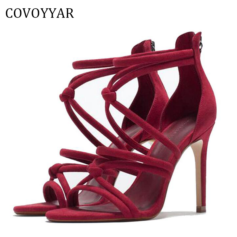 COVOYYAR 2018 Gladiator Woman Shoes Strappy High Heels Women Sandals Sexy Thin Heel Open Toe Lady Wedding Party Shoes WHH98 summer shoes women gladiator sandals high heels fashion sexy suede leather open toe thin heel strappy platform female shoes