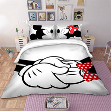 Disney Mickey Minnie Bedding Set Cartoon Duvet Cover Twin Full Queen King White Black Decorative Kids bedlinen(China)