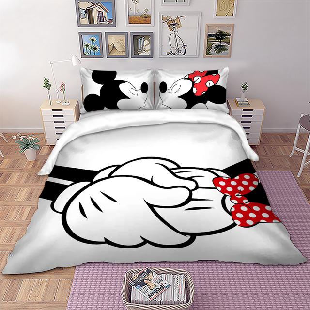 Disney Mickey Minnie Bedding Set Cartoon Duvet Cover Twin Full Queen King White Black Decorative Kids bedlinen