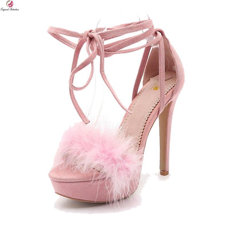 f8c5692d6c3 US $41.59 35% OFF|Original Intention Stylish Women Sandals Platform Open  Toe Thin High Heels Wedding Sandals Pink Black Shoes Women US Size 3  10.5-in ...
