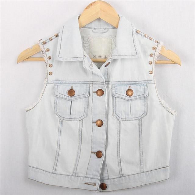 Cute Waistcoat Rivet Jeans Vest Brand Turn-down Collar Button Sleeveless Light Blue Denim Jacket Women Coat