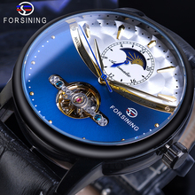 все цены на Forsining Blue Tourbillon Mechanical Watches Male Automatic Moon Phase Genuine Leather Clock For Business Men Relogio Masculino онлайн