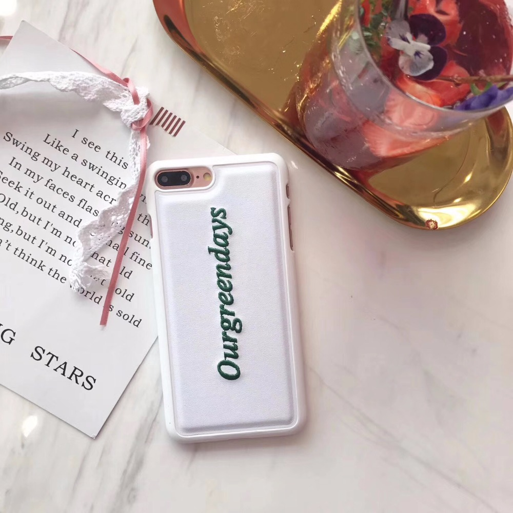 Luxury Embroidery <font><b>Phone</b></font> Case Leather White Green Letter for iphone8 8Plus 7 7Plus 6 <font><b>6s</b></font> plus Fun Case Cover female women hot