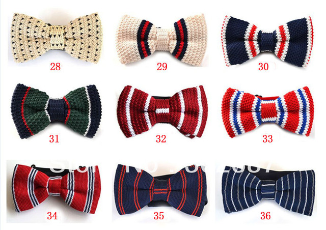 Men Neck Knitted Bowtie Bow Tie Pre-Tied Adjustable Tuxedo Bowtie Stripe Printed Free Shipping 200 pcs