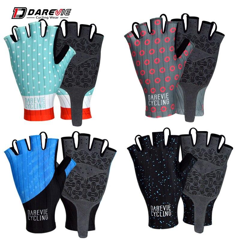 Darevie strips fabric half finger gloves heat transfer printing bike gloves