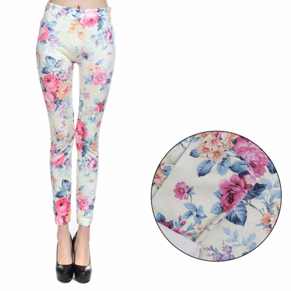 KLV Lady Popular Seamless Slim Leggings Red Roses Print Mid Waist Legging Jeggings Hot!