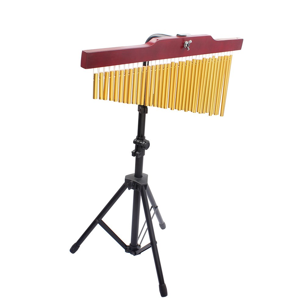 36-Tone Golden Bar Chimes 36 Bars Single-row Wind Chime Musical Percussion Instrument with Tripod Stand and Striker36-Tone Golden Bar Chimes 36 Bars Single-row Wind Chime Musical Percussion Instrument with Tripod Stand and Striker