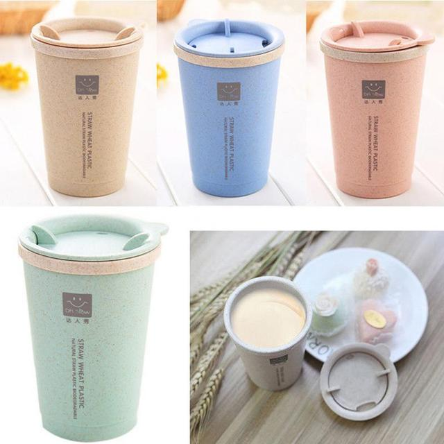 ce40e9cb485 280ML Fashion Double-wall Insulation Wheat Straw Cup Travel Mug Spill proof Cup  Office Coffee
