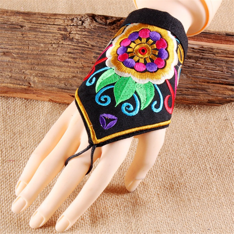 2019 Ethnic Wind Embroidery Flower Fingerless Gloves Fashion Joker Bracer Bracelet Dance Jewelry For Women 06