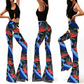 Womens Flared Leggings Printed Long Pant Elastic High Waist Trousers Summer 2016 Skinny Bell Bottoms Stretch Knit Wide Leg Pants