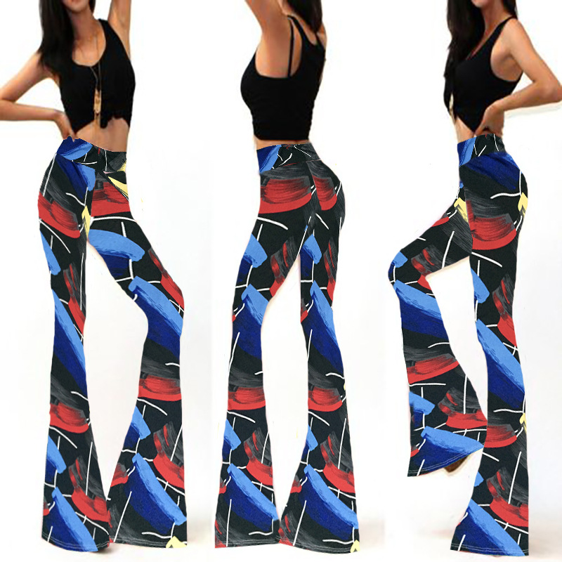 Womens Flared Leggings Printed Long   Pant   Elastic High Waist Trousers Summer 2019 Skinny Bell Bottoms Stretch Knit   Wide     Leg     Pants