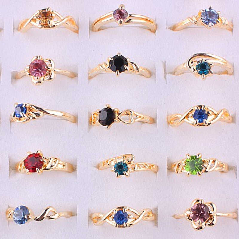 QianBei Wholesale 50pcs/set New Female Jewelry Crystal Rhinestone Ring Rose Gold Color Women Rings Engagement Wedding Ring