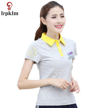 Polo Shirt Female Plus Size 2017 S-6XL 4 Colors women Turn-down Collar Short Sleeves Slim Cotton Tees Female Tops Mujer YY924