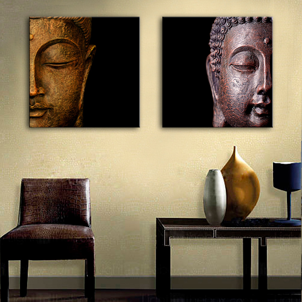 Free Shipping Oil Painting Buddha Head Decoration Painting