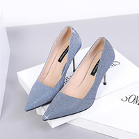 Spring and summer Korean version of the wild sequins cloth pointed shallow mouth metal stiletto high heels women wedding shoes.