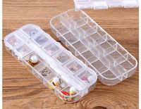 1PC 12 Grid Transparent Plastic Box Cosmetic Case Nail Art Pill Box Portable Storage Container Parts Stones Tools LF 052