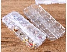 1PC 12 Grid Transparent Plastic Box Cosmetic Case Nail Art Pill Box Portable Storage Container Parts Stones Tools LF 052 недорго, оригинальная цена