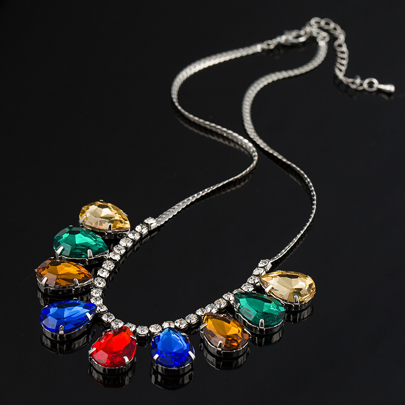 New Design Trend Fashion Europe Crystal High Quality Colorful Water Dorp Vintage Sweater Chain Necklace Accessories For Women704