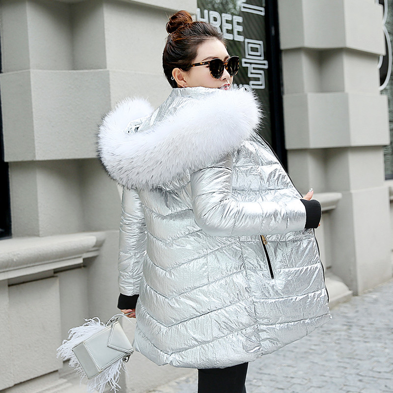 Warm Coat Jackets Ladies Parka Wide-Fur-Collar Silver Color-Style Long Women Winter Mujer