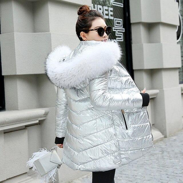 נשים חורף מעילים ארוך חם מעיל כסף צבע סגנון נשי מעיל רחב פרווה צווארון 2019 גבירותיי parka abrigos mujer invierno