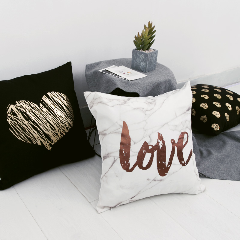 Black Golden Leaves Cushion Brozing Gold Foil Cushion Decorative Pillows Home Decor Throw Pillow Almofadas Decorativas Para Sofa