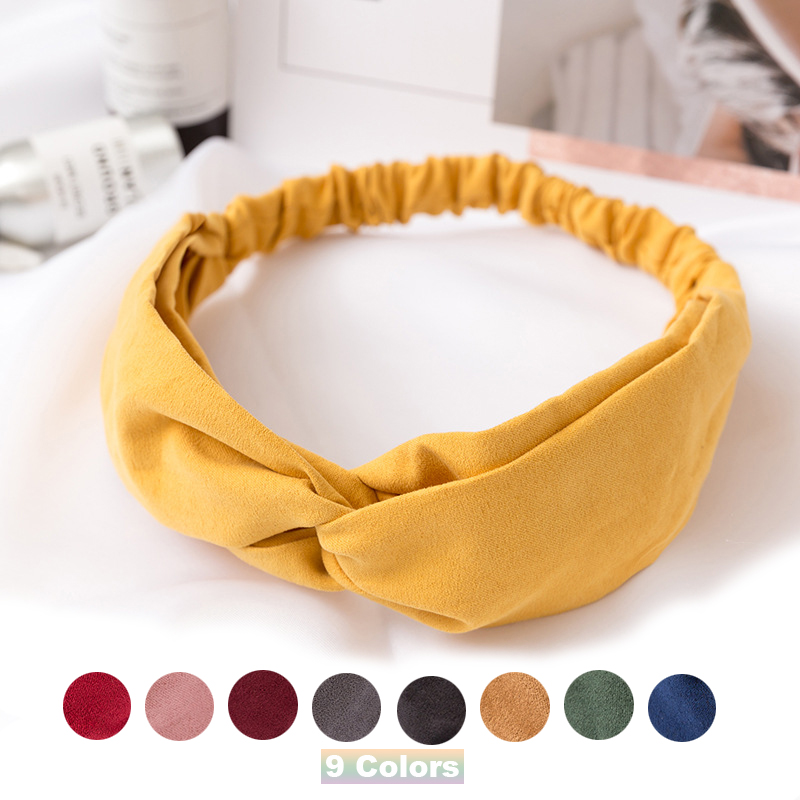 9Colors Suede Women Girls Cross Knot Soft Elastic Headband Bandanas Vintage Hair Band   Headwear   Fashion Hair Accessories hairband