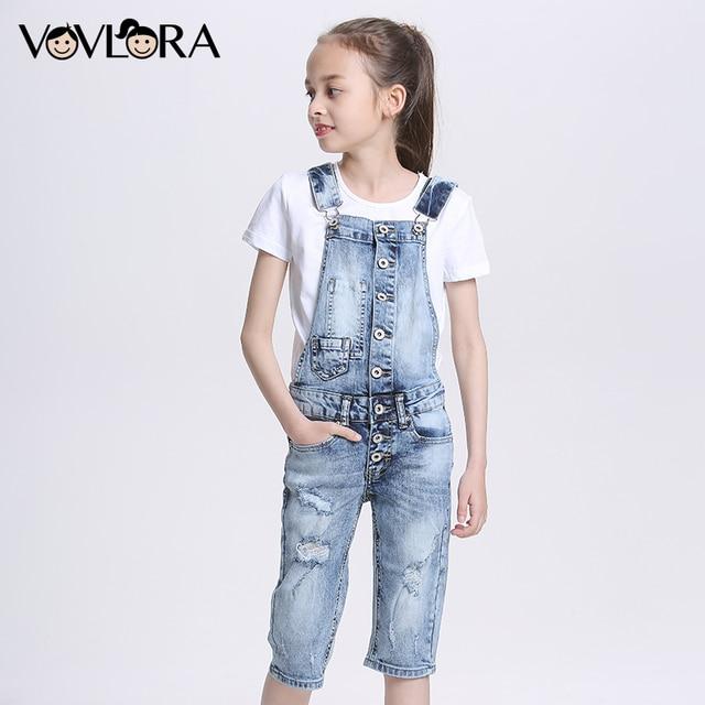 Vovlora Джинсовый летний модный комбинезон для девочек синего цвета застежка на пуговицах новая коллекция летней одежды высокое качество размеры на возраст 9 10 11 12 13 14 лет