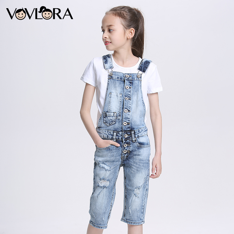 Denim Summer Fashion Overall For Girls Straight Hole Jeans Jumpsuit Kids Children Clothes New 2018 Size 9 10 11 12 13 14 Years straight leg distressed denim jeans