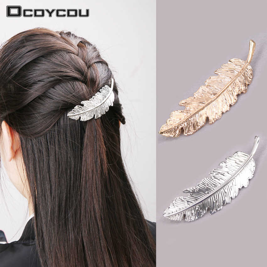 Fashion Women Retro Leaf Feather Hair Clip Hairpins Girls Headband Barrette Festival Hair Accessories Jewelry Gold Silver
