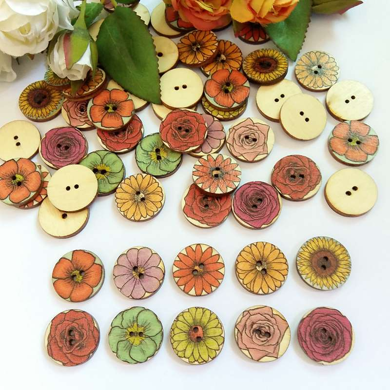 120 Pcs 20MM Random Mixed Vintage flower Wood Button Fashion Decorative Wooden Buttons Sewing Accessories bottoni in Buttons from Home Garden