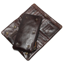 The 2019 New First Layer Of Real Leather Men's Oil Wax Retro High-Capacity Multi-Card Bit Long Wallet  Clutch Men Genuine