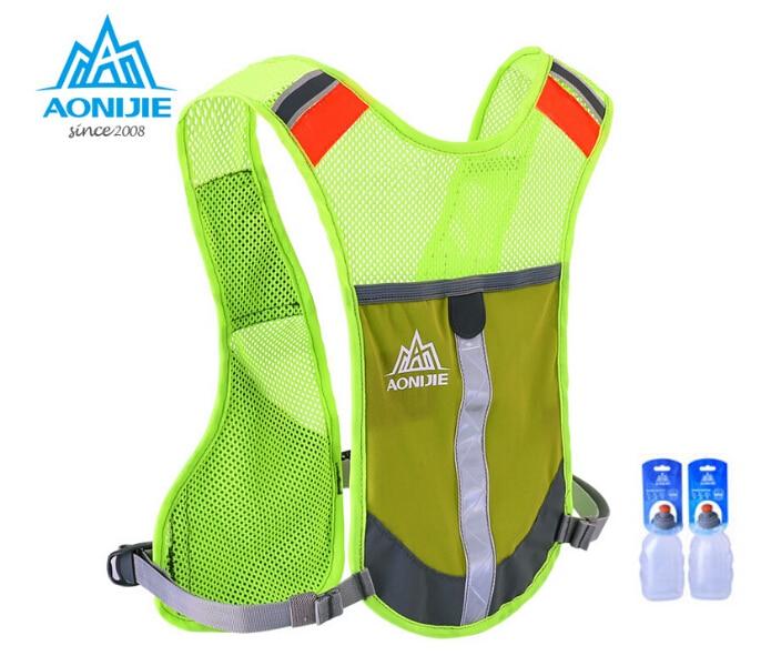 AONIJIE 마라톤 반사 조끼 가방 스포츠 실행 자전거 가방 남자 2PCS 250ML 물병 남자 안전 장비