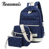 TMYOY 3 Piece Set 2016 Canvas School Backpack For Teenage Grils New Casual Women Backpack Preppy