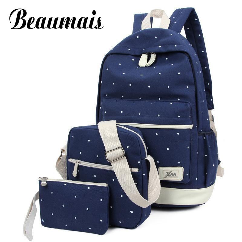 цена на Beaumais 3pcs/set 2017 Canvas School Bags Backpack for Teenage Grils Casual Women Backpack Preppy Dot Computer Travel Bag HC5045