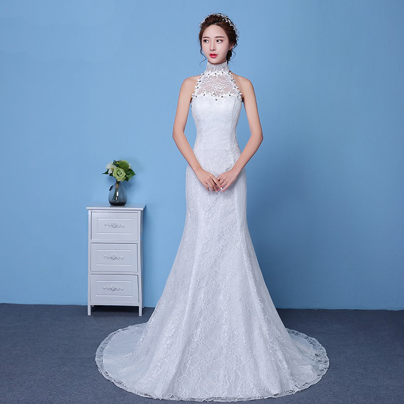 AXJFU Fishtail lace wedding dress princess fishtail wedding Dress ...