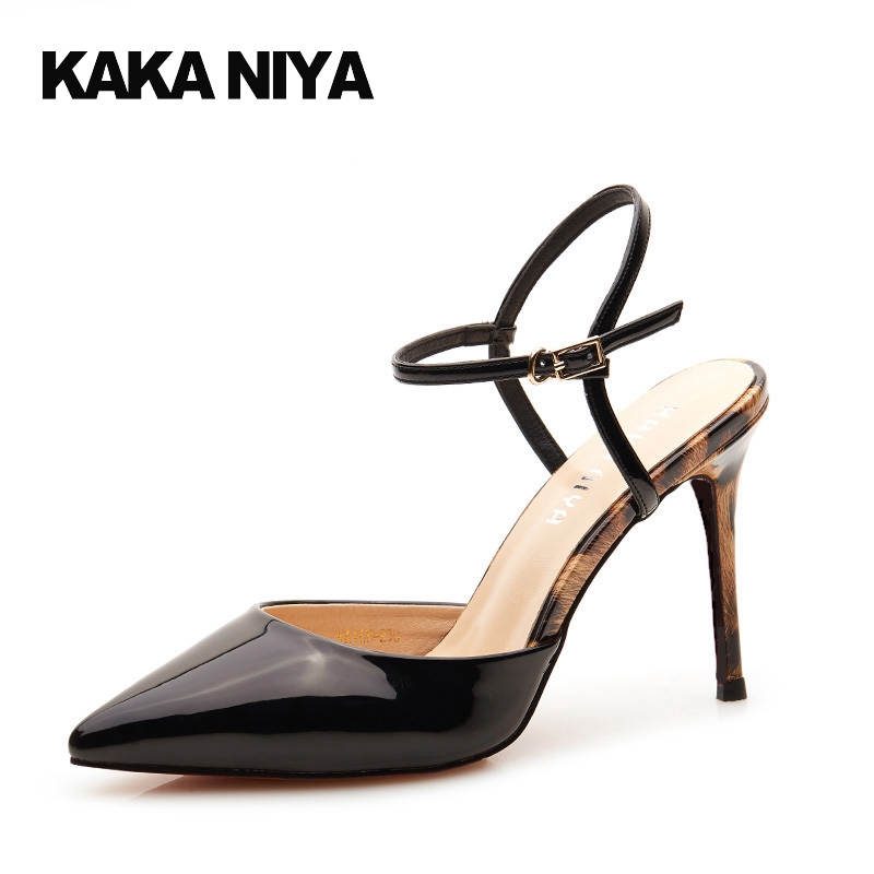 da49cbf23a7b7 Pointed Toe Slingback Ladies 2017 Thin Ankle Strap Patent Leather Size 4 34  Chic Black Summer Sandals Leopard Print Sexy High
