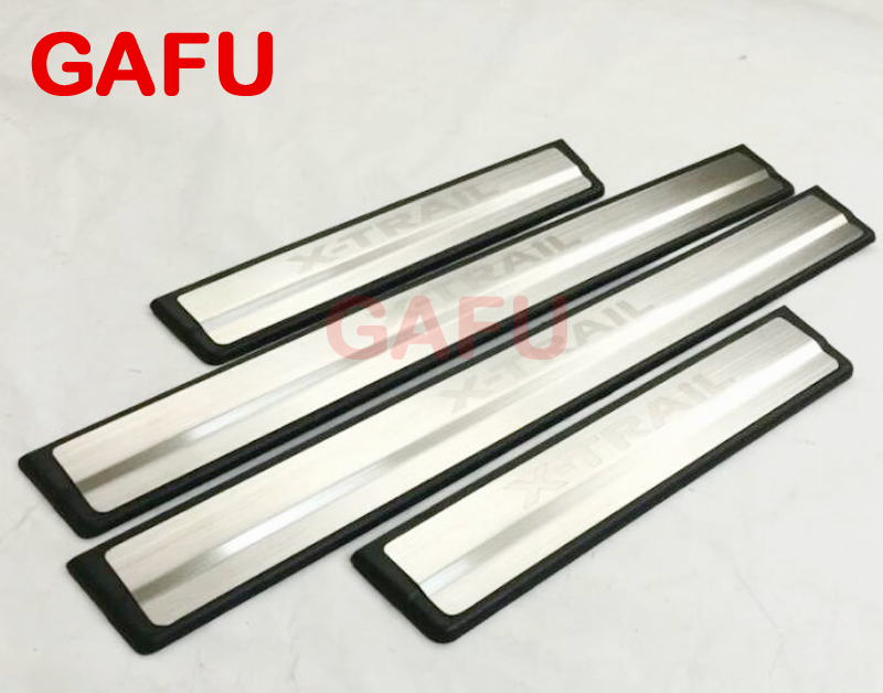 Stainless Steel Door Sill Scuff Plate for Nissan X-Trail X Trail T32 2015-2018 Welcome Pedal Trim Car Styling Accessories rear bumper protector sill exterior guard pedal trim accessory for nissan x trail x trail rogue t32 2014 2015 2016 car sticker