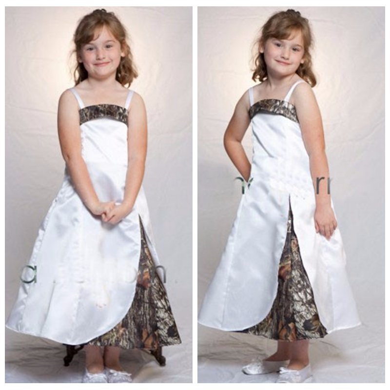 2019 Spaghetti Strips A-Line Camo Flower Girls Dresses Tea Length Slim Camouflage Formal Kids Formal Wedding Wear