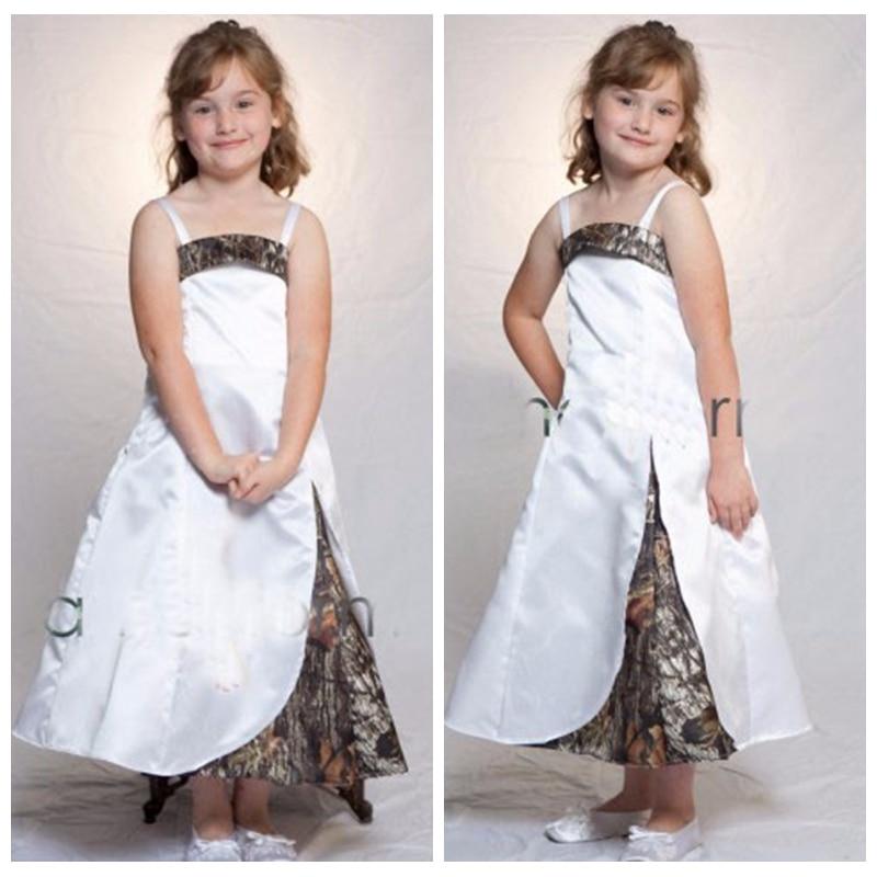 2019 Spaghetti Strips A-Line Camo Flower Girls Dresses Tea Length Slim Camouflage Formal Kids Formal Wedding Wear