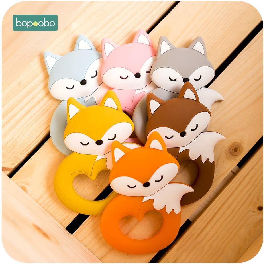 Bopoobo 1pc Silicone Rodent Fox Teether Pearl Silicone Baby Teether Bpa Free Silicone Teething Silicone Tiny Rod For Teeth Toys