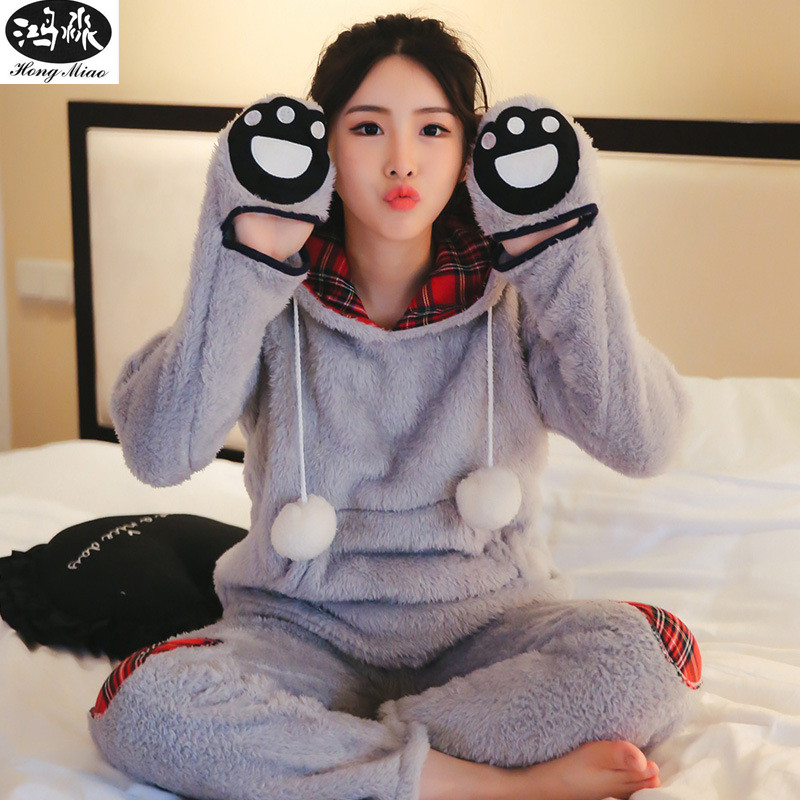Women Pajamas Sets 2018 Winter Long Sleeve Warm Comfortable Pajamas Sets Female Cute Bea ...