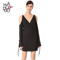 Haoduoyi2017 Autumn New Dress The European And American Fashion Sexy Shoulders Back Hollow Out Pure Color